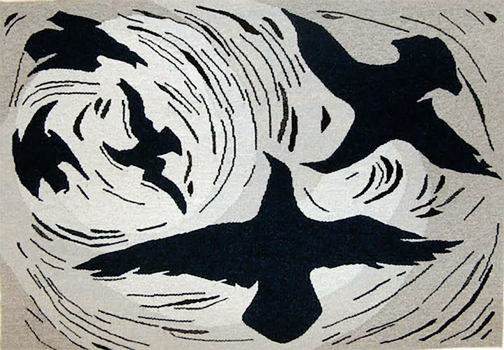 Ravens-Gathering, Jolly Atagoyak, tapestry art, artist Olassie Akulukjuk, Nunuvuk, gallery, tourism, first nations