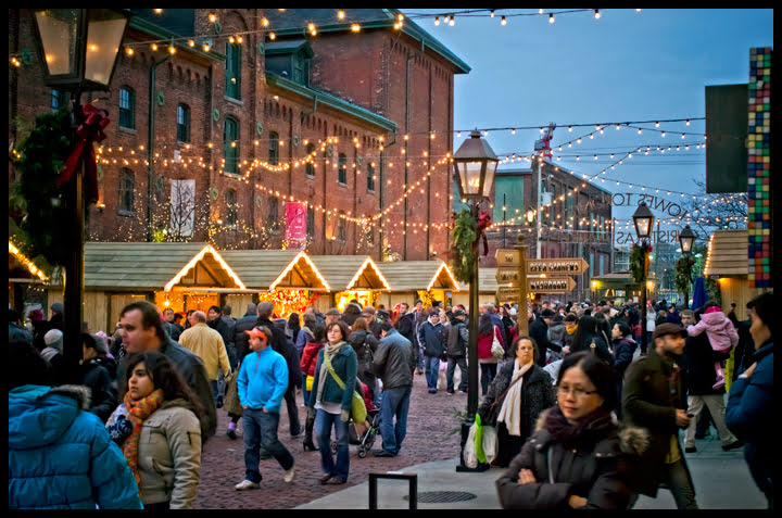 Victorian Industrial Buildings, distillery, Toronto Christmas Market, holiday,