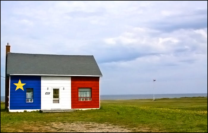 Acadian Shore New Brunswick Canada cottage Acadian flag