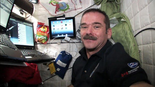 Hadfield inside his sleeping pod.