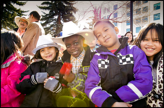 Calgary's community spirit lights up these kids faces. (Julia Pelish/Vacay.ca)
