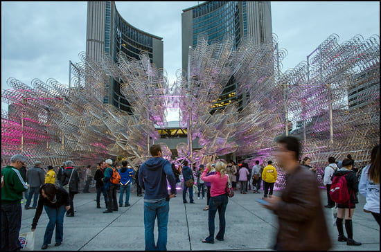 Ai Weiwei's 'Forever Bicycles' mesmerizes viewers in Nathan Phillips Square during Scotiabank's Nuit Blanche all night festival in Toronto. (Julia Pelish/Vacay.ca)