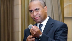 Governor Deval Patrick of Massachusetts addresses guests at a breakfast reception at the Windsor Arms Courtyard Cafe in Toronto on Wednesday. (Julia Pelish/Vacay.ca)