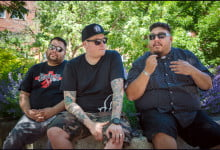 DJ Shub, DJ NDN, DJ Bear Witness of Tribe Called Red at David Crombie Park, Toronto, Ontario. (Julia Pelish/Vacay.ca)