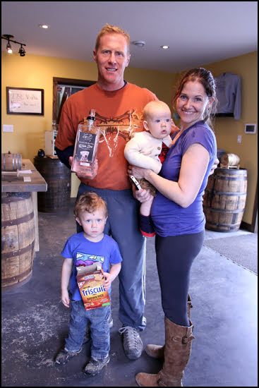 Meredith and Colin Schmidt shown here with their kids started the handcrafted Last Mountain Distillery. (Jenn Smith Nelson/Vacay.ca)