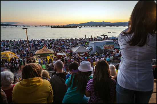 The bleacher seating in the YVR Observation Deck goes for $49 per person offering great views of the Honda fireworks barge, wine and beer purchases and rest room service. (Julia Pelish/Vacay.ca)