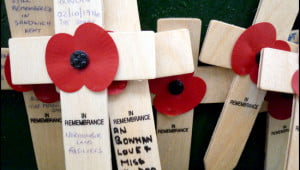Crosses adorned with memorial paper poppies remember the soldiers lost in WWI at Menin Gate in Ieper, Belgium. (Photo: Ilona Kauremszky/Vacay.ca)