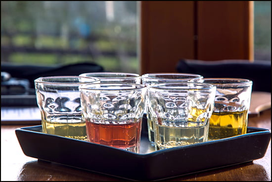 Flight of ciders at Merridale Cider in the Cowichan Valley. (Julia Pelish/Vacay.ca)