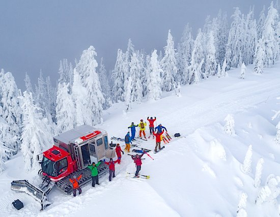 Snow cat and skiers Kootenay Rockies
