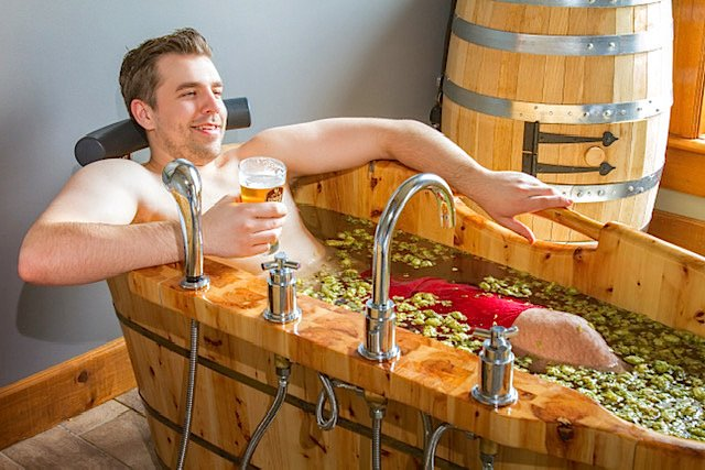 Beer soaking tub grand wellness centre