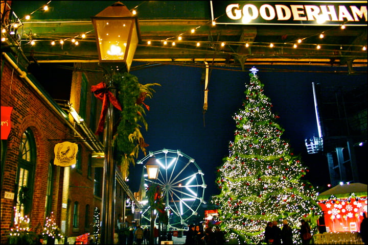 Victorian Industrial Buildings, distillery, Toronto Christmas Market, holiday, ferris wheel