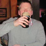 Richard Donauer enjoying his pint obyrnes edmonton
