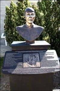 bronze bust of Spock, Leonard Nimoy, Vulcan, Alberta