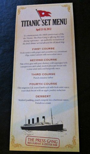 Titanic food menu halifax