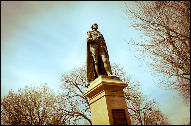 The statue of Sir John A. MacDonald stands in city park in Kingston, Ontario. (Julia Pelish/Vacay.ca)