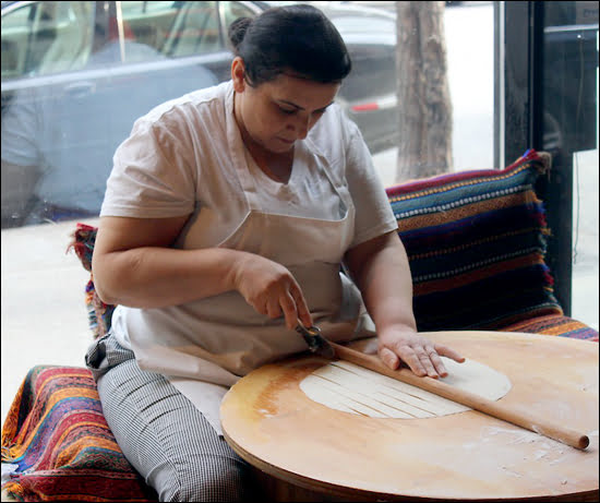 Avesta (locally called Lady in the Window Making Bread) is a tiny Turkish restaurant in Montreal's Shaughnessy Village. (Sharman Yarnell/Vacay.ca)