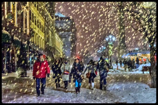 Place Jacques-Cartier in Old Montreal is transformed into a snow globe thanks to mother nature. (Julia Pelish/Vacay.ca)