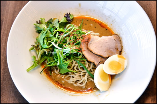 The Goma Mazemen ramen dish is delicious with locally sourced pork mixed in a savoury peanut sesame sauce. (Julia Pelish/Vacay.ca)