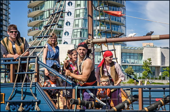 We tried to stay clear of Pirate Adventures in False Creek and their menacing looking crew. (Julia Pelish/Vacay.ca)