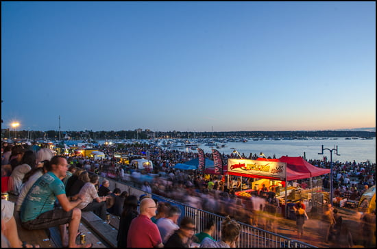 Food trucks fed the beach crowds and boats dotted the bay as the sunset prior to the Honda Celebration of Lights fireworks show. (Julia Pelish/Vacay.ca)