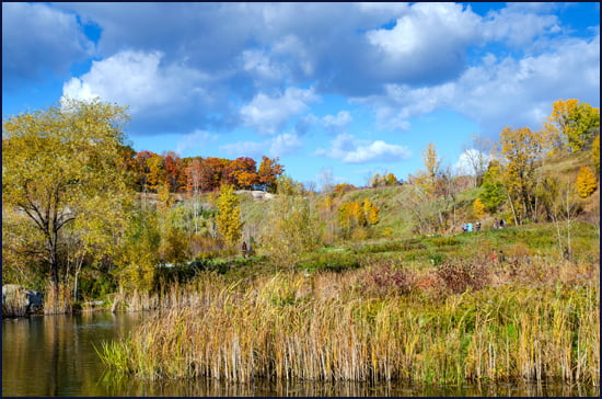 Blues and yellow with white fluffy clouds on a perfect fall day last October at Evergreen Brick Works in Toronto. (Julia Pelish/Vacay.ca)