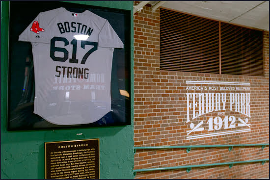 The inspirational Boston Strong jersey can be seen hanging on the wall at Fenway Park, home of the Red Sox major league baseball team. (Billie Weiss/Boston Red Sox)