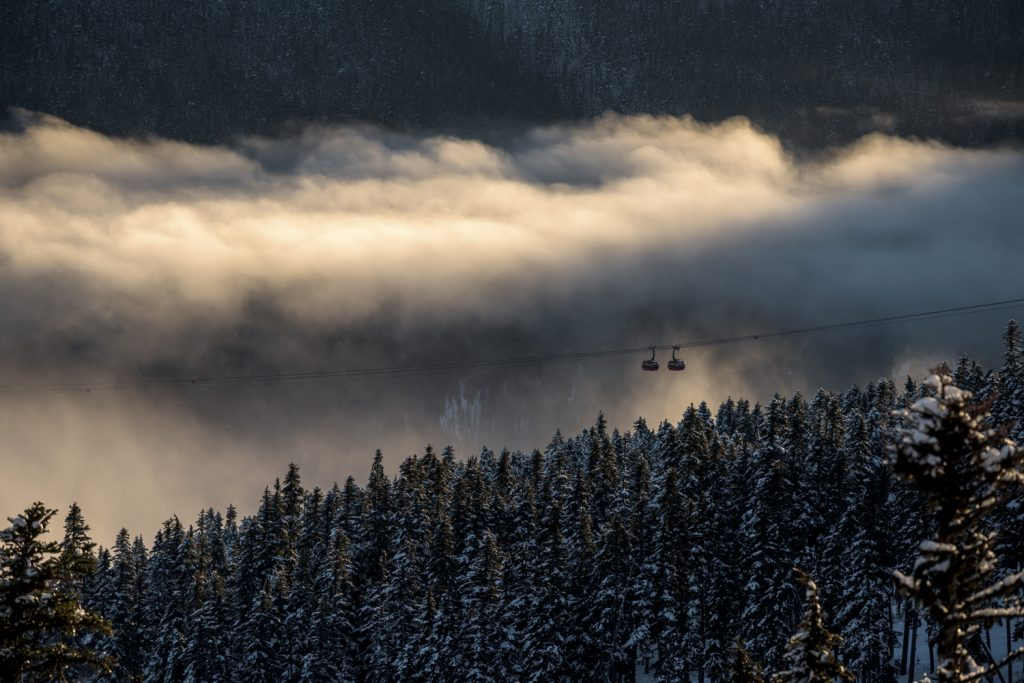 Whistler's Peak to Peak gondola emerges from a luminous mist over Fitzsimmons Creek.