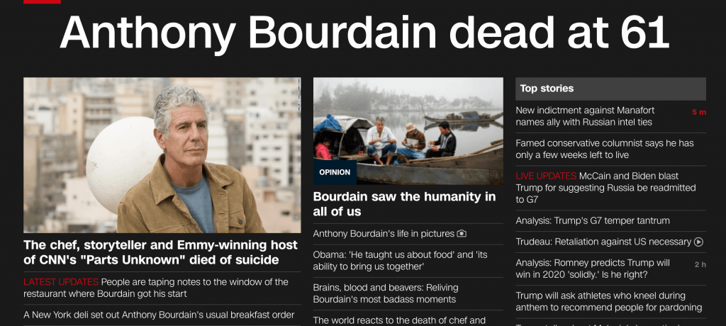 CNN devoted it's homepage to Bourdain's passing