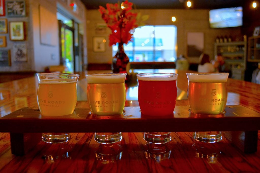 five-roads-brewing-beer-flight-langley