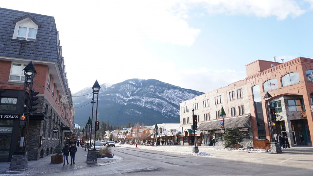 Main Street Banff on a winter morning