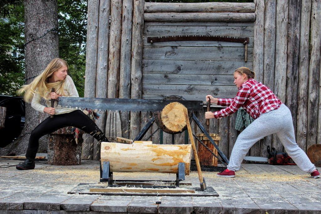 Crosscut sawing at Wild Axe Park, Barrington NS
