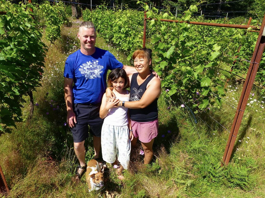 SouthEnd-winery-quadra-island-Ben McGuffie Jill Ogasawara daughter Miwa and Truman the dog