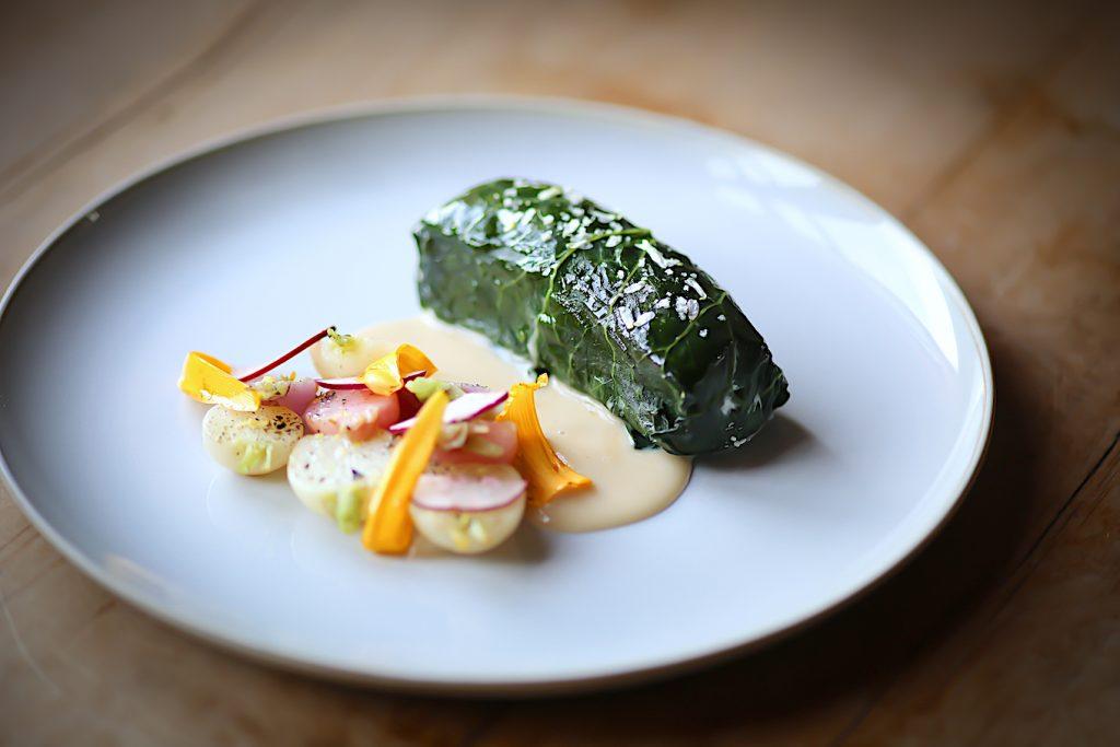 local halibut with seasonal vegetables - auberge saint-antoine