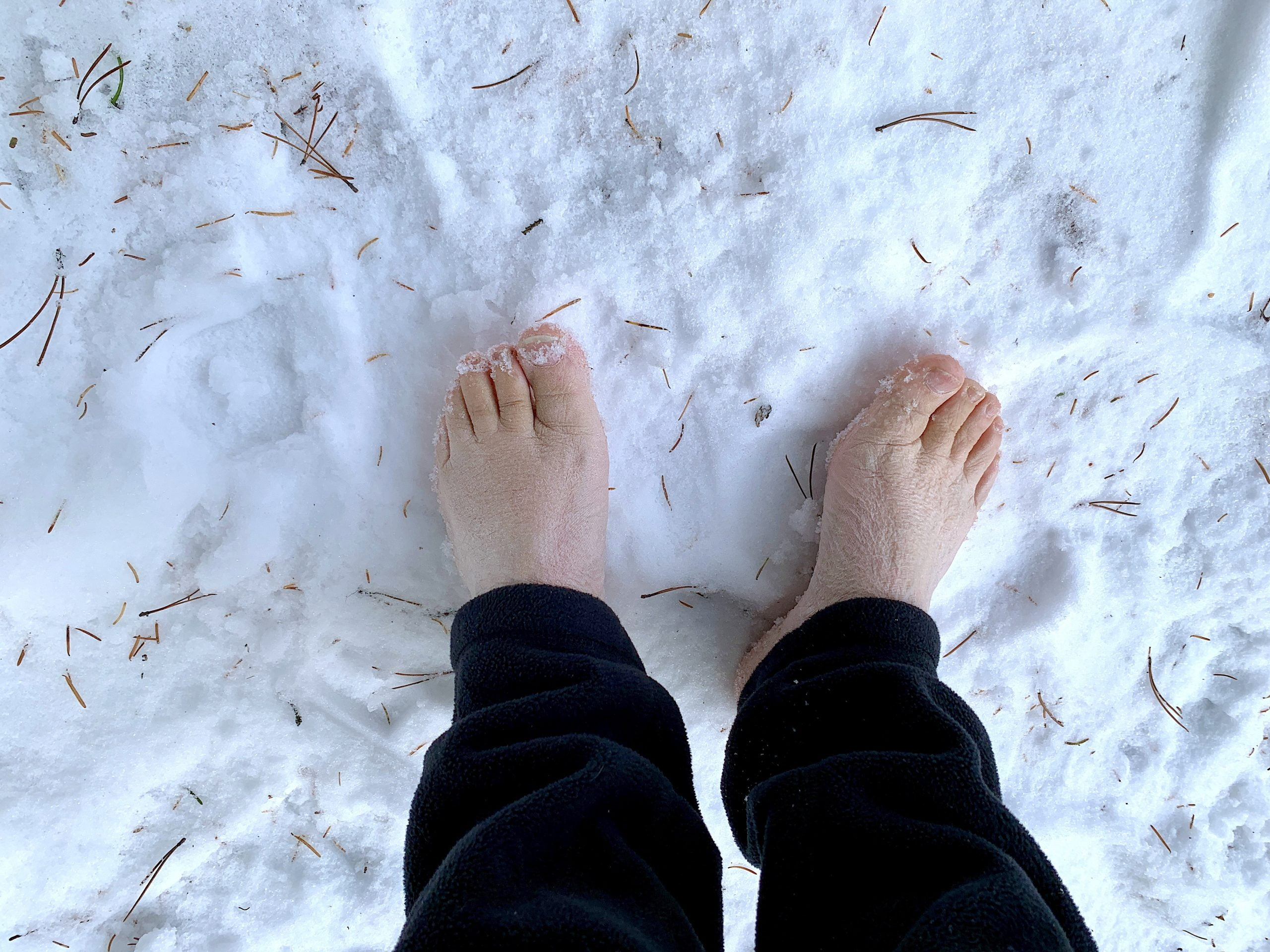 Feet in snow on Maligne Canyon Upper Canyon Loop hike Jennifer Bain