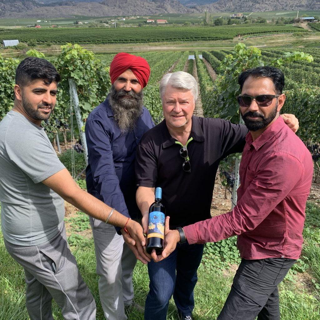 Hermit-Wine-Co-founder Ingo Grady with Kismet's Dapinder Gill Sukhi Dhaliwal and Balwinder Dhaliwal