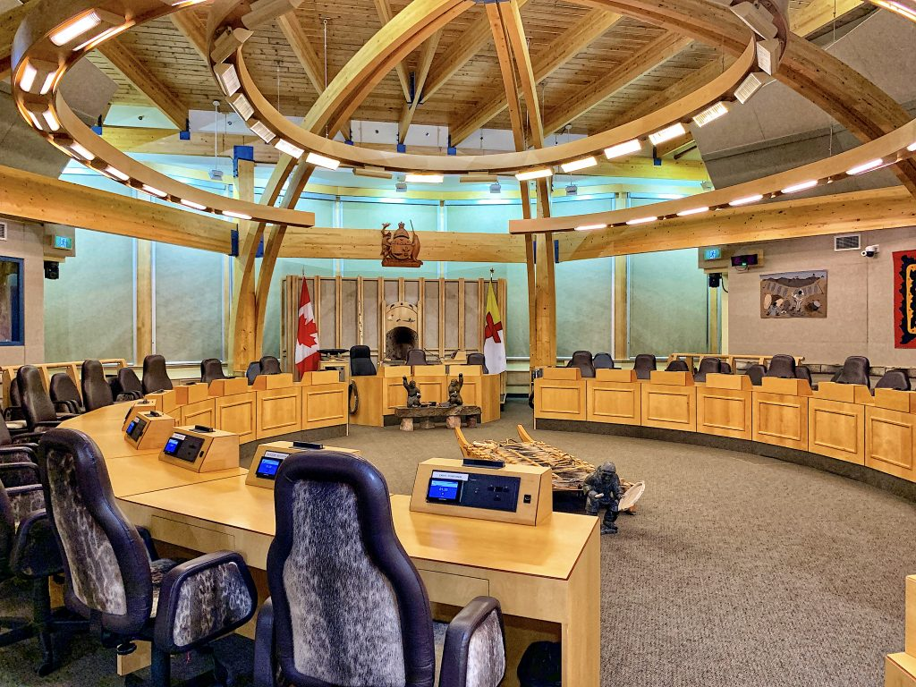 Inside the chamber of the Legislative Assembly of Nunavut
