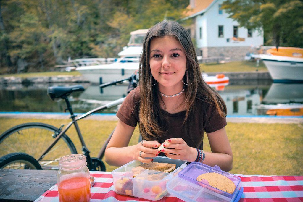 Antonia at picnic at Chaffey's Lock
