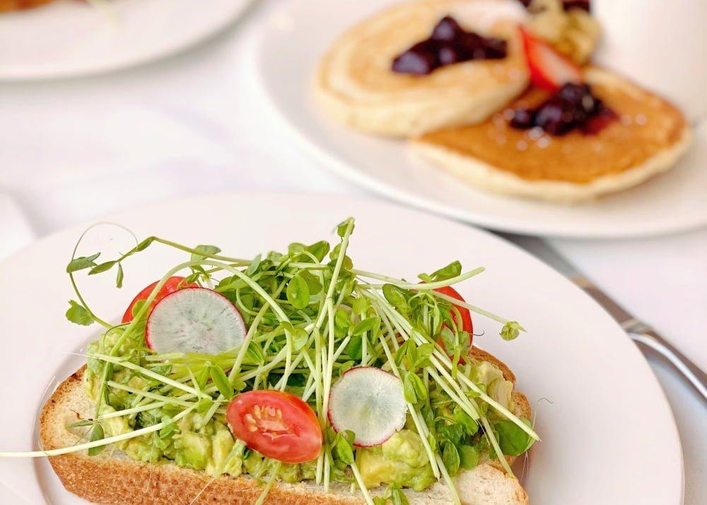 avocado toast and pancakes