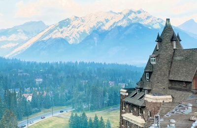 banff springs hotel with view of banff
